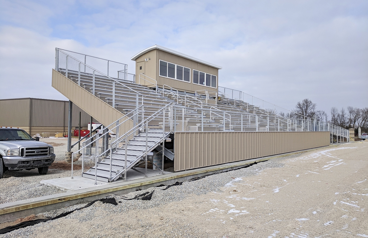 aluminum seating, soccer stadium