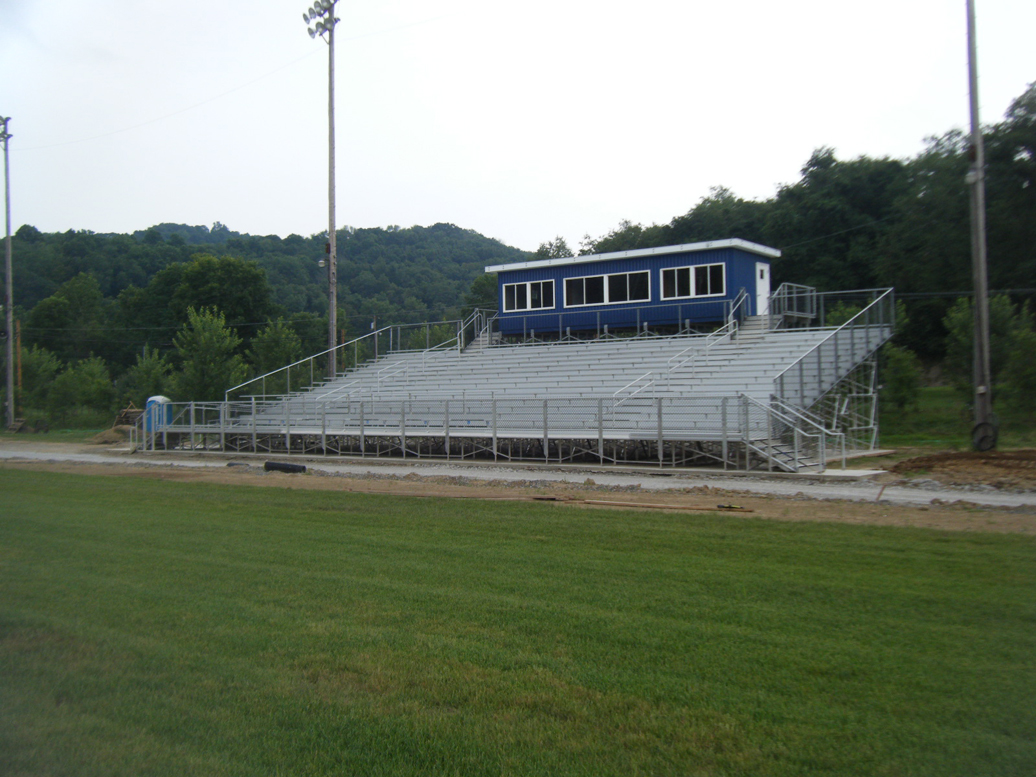 New home side angle frame bleacher and pressbox