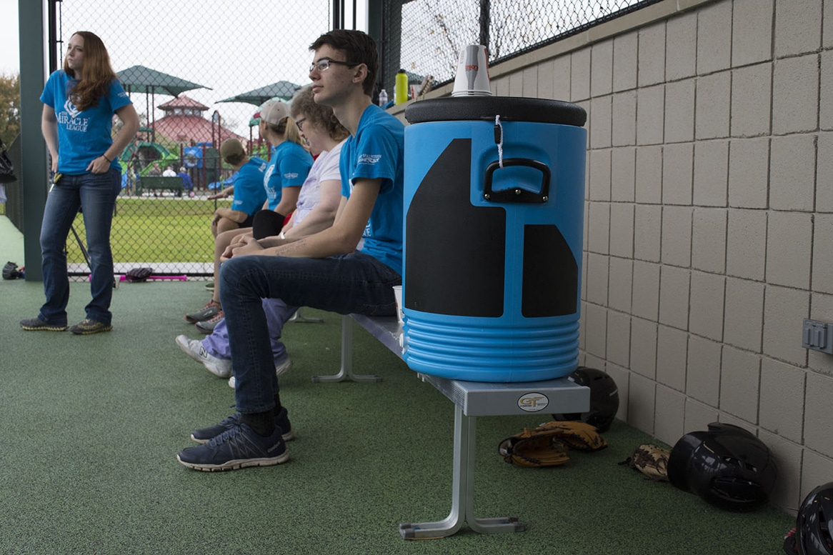 Team benches for players and parents on the sidelines