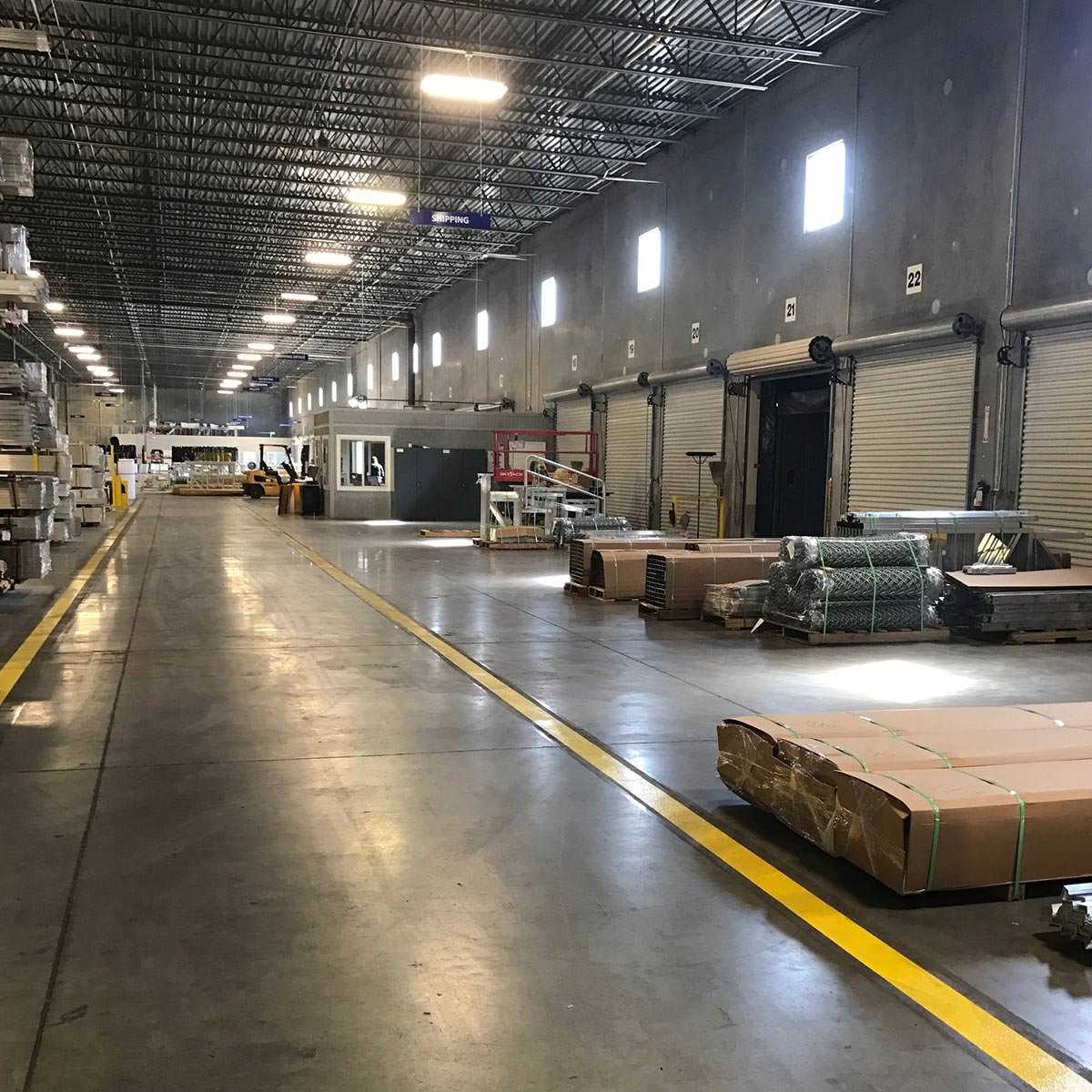 A view inside the GT Grandstand warehouse