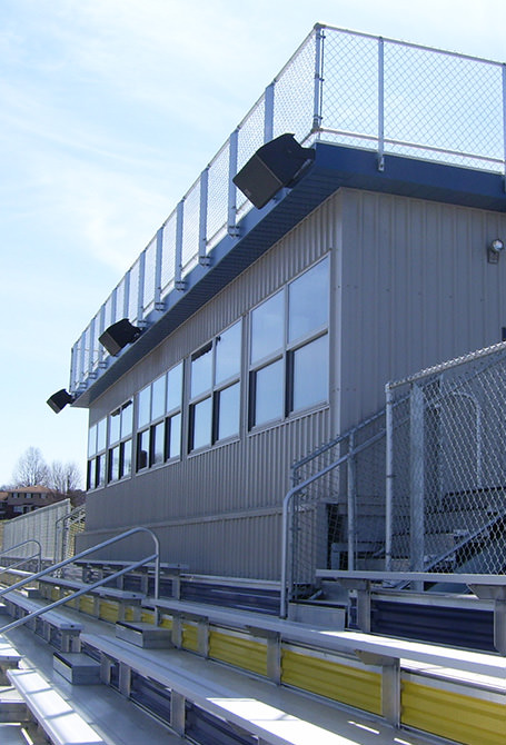 Press box example with speakers and fencing.